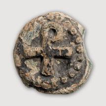 Üveg medallion Krisztus monogrammal